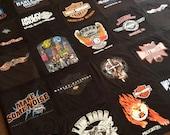 Harley Davidson Themed Memory T Shirt Blanket - Custom with Border