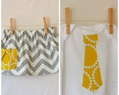 Brother and Sister Sibling Set . Twins . Grey Chevron Skirt & Yellow Tie Tee or Bodysuit . Photography Session