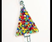 Glassworks Northwest - Multi-colored Festive Tree - Fused Glass Ornament