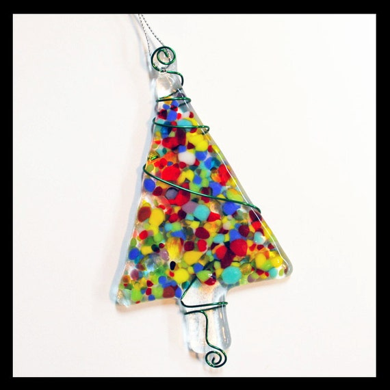 Glassworks Northwest - Multi-colored Festive Tree - Fused Glass Ornament