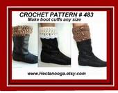 CROCHET PATTERN, boot cuffs, crochet, patterns, children, teens, adults, all sizes, num. 483, accessories