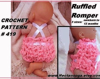 BABY CROCHET PATTERN - baby romper diaper cover  Ruffled Baby Bibbed Romper # 419 newborn to 6 months, ok to sell them