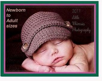Crochet Hat PATTERN - Baby Newsboy Hat Crochet Pattern - Instant Download PDF 77 - Newborn to Adult - Photo Prop Pattern