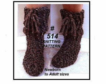 Knitting pattern slippers- KNIT FLAT slippers for all ages, baby, adult, house shoes, clothing, men, women, kids, cottage socks, winter, 514
