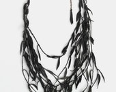 Willow Branch Necklace / UPCYCLED LEATHER / grey