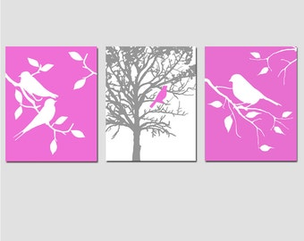 Nursery Art Prints - Modern Bird Trio - Set of Three 8x10 Prints - CHOOSE YOUR COLORS - Shown in Dahlia Fuchsia Purple, Gray, and More