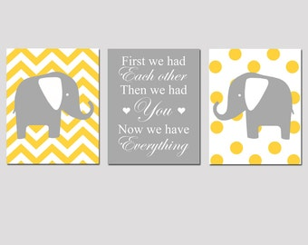 Nursery Art Trio - Set of Three 8x10 Prints - First We Had Each Other, Now We Have Everything Quote, Chevron Elephant, Polka Dot Elephant