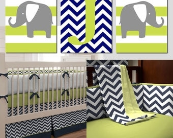Nursery Art Trio - Striped Elephants and Chevron Monogram Initial - Set of Three 11x14 Prints - CHOOSE YOUR COLORS