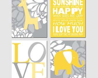 Baby Elephant Giraffe Love Nursery Art Quad - Set of Four 11x14 Prints - You Are My Sunshine - CHOOSE YOUR COLORS - Yellow and Gray