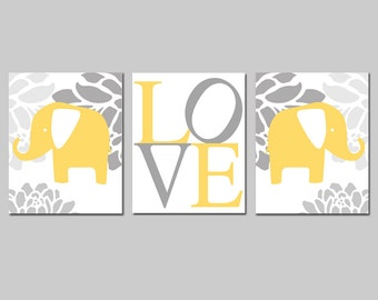 Nursery Art Prints Trio Elephant Nursery Decor - Set of Three 8x10 Prints - Floral Elephant, Love - CHOOSE YOUR COLORS