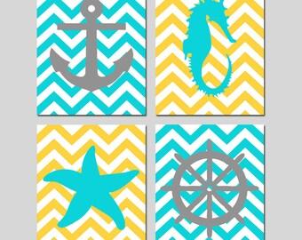 Chevron Beach Nautical Art Quad - Starfish, Seahorse, Anchor, Wheel Silhouette - Set of Four 8x10 Prints - CHOOSE YOUR COLORS