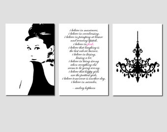 Audrey Hepburn Wall Art Teen Dorm Decor - Audrey Hepburn Image, I Believe In Pink Quote, Chandelier - Set of 3 Prints - CHOOSE YOUR COLORS
