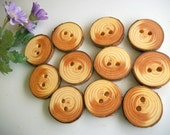 12 Wooden Tree Branch Buttons  - Michigan Red Pine Wood - 1 inch - For Hats, Scarves, Journals, Pillows