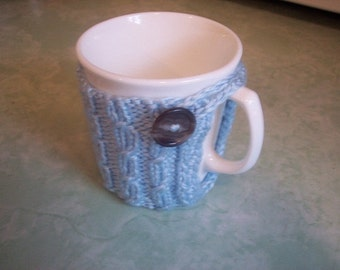 Cup Cozy Knit   Mug Hug  Coffee Sleeve  Coaster Light Blue