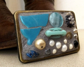 Mosaic Assemblage wearable art - Oh So Blue - one of a kind belt buckle