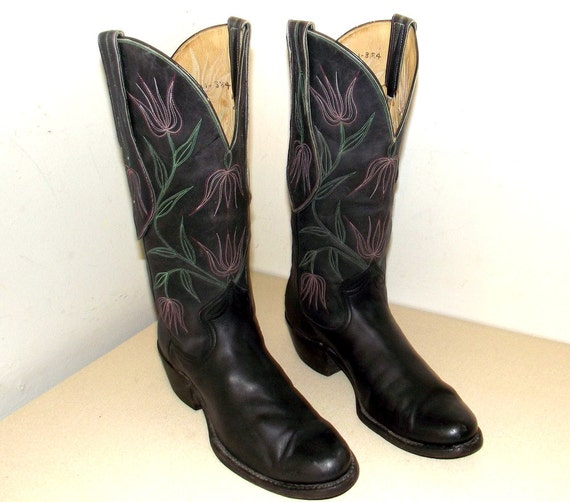 SOLD ----  Handmade One of a Kind Black Leather cowboy boots with pink and red flower stitching -- cowgirl size 10 to 10.5