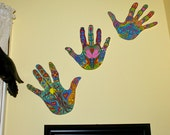 Set of 3 Laminated Life-Size Colorful Hands - Reiki - Wall Sculpture