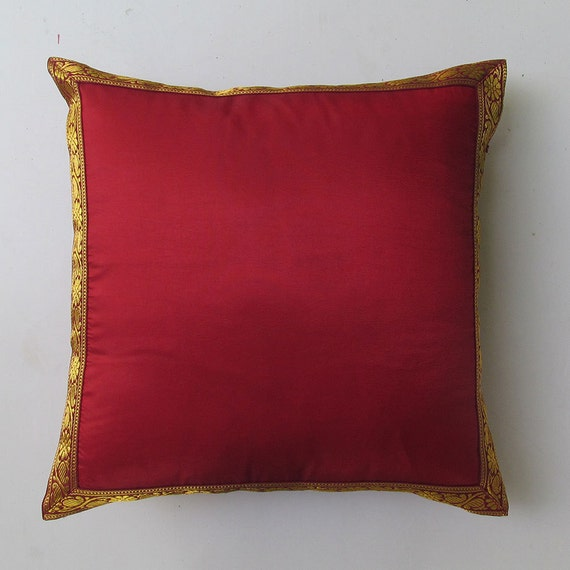 dark red and gold border decorative pillow cover. Festive