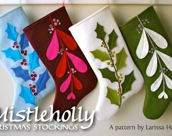 Mistleholly Felt Christmas Stocking PDF pattern
