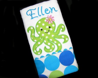 Personalized Baby Burp Cloth - Appliqued Octopus