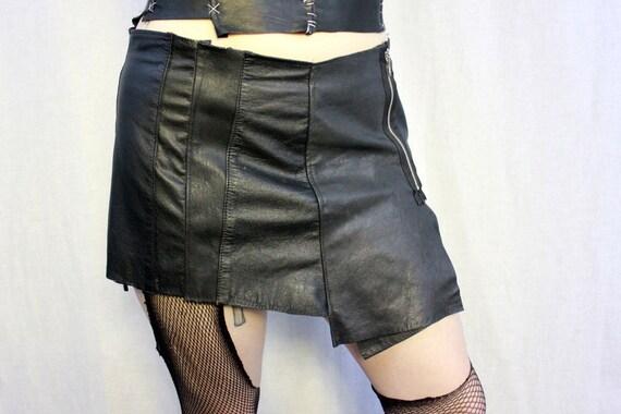 Recycled Black Leather Mini Skirt - Paneled Zipper Asymmetrical - Punk Goth Warrior Steampunk Kilt
