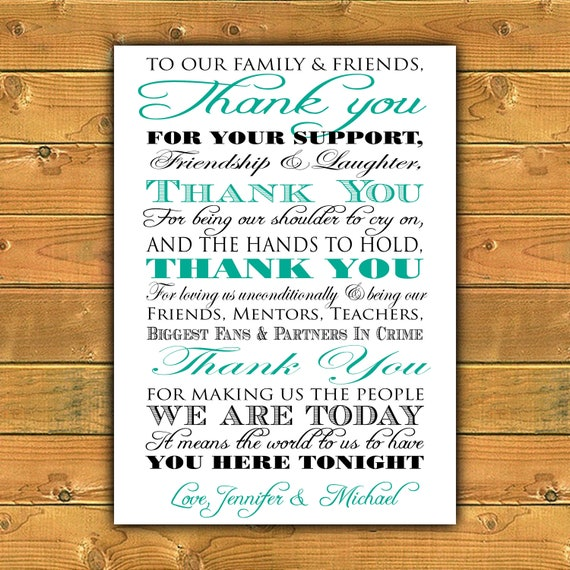 Printable Thank You Wedding Sign