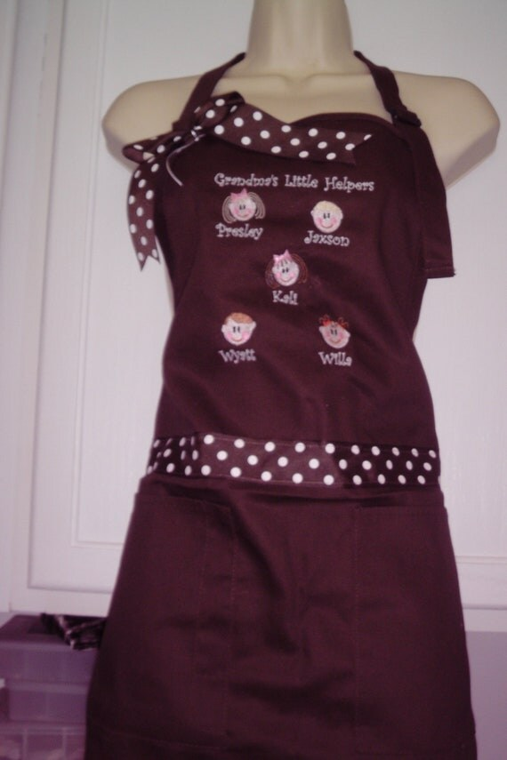 Mother or Grandma Apron  personalized with child faces so cute