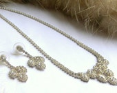 Stunning W Lind signed Vintage Costume Rhinestone Jewelry Necklace and Earring Set