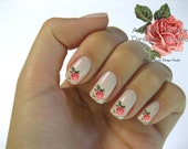 Shabby Very Chic Red Vintage Single Rose Nail Art Waterslide Miniature Water Decals - fw-038