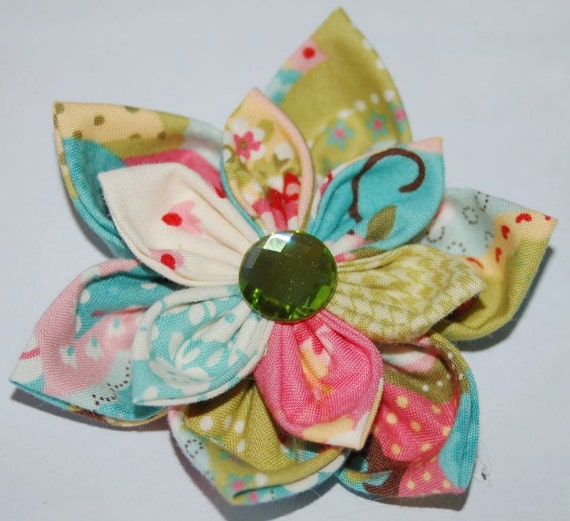 Girls Baby pink Ivory olive Flower Headband or Hair Clip Fabric Flower Elastic Headband Hair Bow