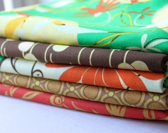 Green and Orange Gypsy Fabric Set by Felicity Miller Half Yard Bundle