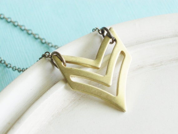 Chevron Necklace - Brass Necklace - Fall Fashion Geometric Military Inspired