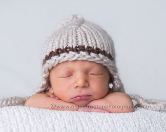 Newborn Hat, Baby Hat, Handmade Ear Flap Hat for Boys, Light BrownHat with Brown Accent, Photography Prop