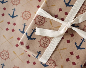 Anchors Away | Wrapping Paper | Gift Wrap | 3 Sheets | Toodles Noodles