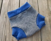 Extra-fine merino and lambswool cloth diaper cover shorties soaker size MEDIUM w/ added doubler