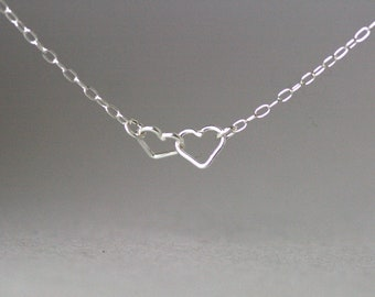 Two Tiny Linked Heart Sterling Silver Necklace