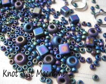 Micro Macrame Bracelet Bead and Cord Kit for Leaves Tutorial DIY Black Rainbow