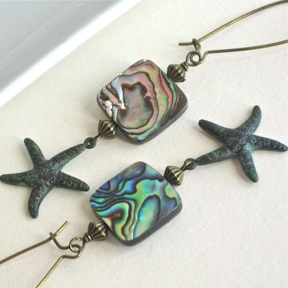Starfish Abalone  Earrings - Shell Jewelry, Verdigris Brass