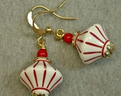Vintage Italian Red White Pinstripe Lucite Bead Earirngs, Japanese Red Glass - Coney Island
