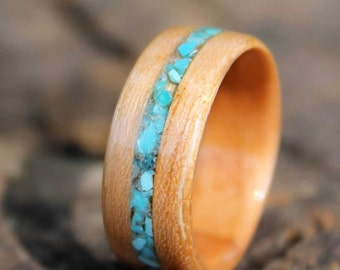 Bentwood Ring Cherry with Turquoise Inlay