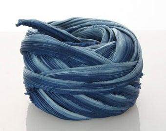 1/2 Shibori Ribbon Hand Dyed Silk Ribbon Indigo