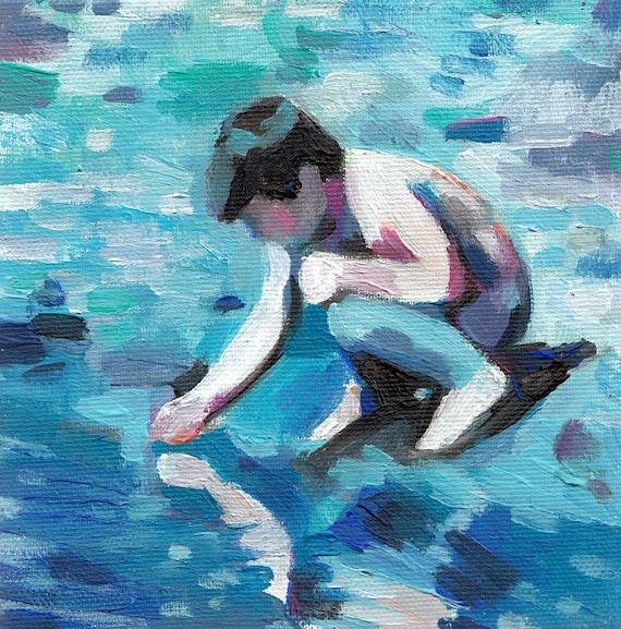 water ripple /  Original tiny acrylic painting on canvas