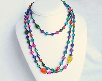 Jewel Tones Glass Bead Necklace Vintage Extra Long Multicolor Art Glass Beaded Flapper Bright Colors
