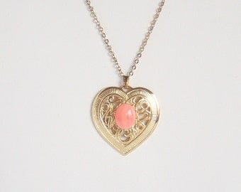 Filigree Heart Pendant Necklace Pink Agate Center Vintage