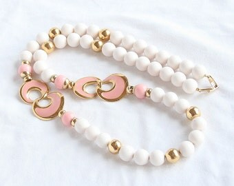 Vintage Pink White Modernist Necklace Beads and Pink Enamel Signed Napier White Bead and Enamel Necklace