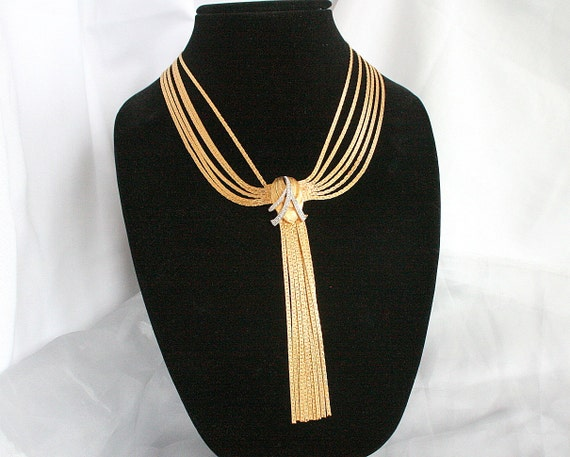 Vintage Gold Bib Necklace Rhinestones Draped Chain Tassel Waterfall Hobe Art Deco Style