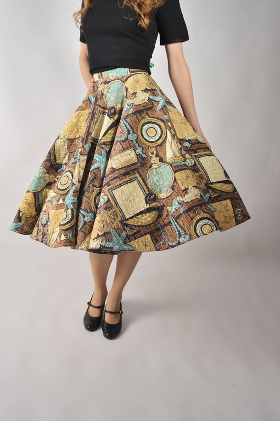 Vintage 1950s Skirt - The Novelty Print Nautical Theme Quilted Circle Skirt