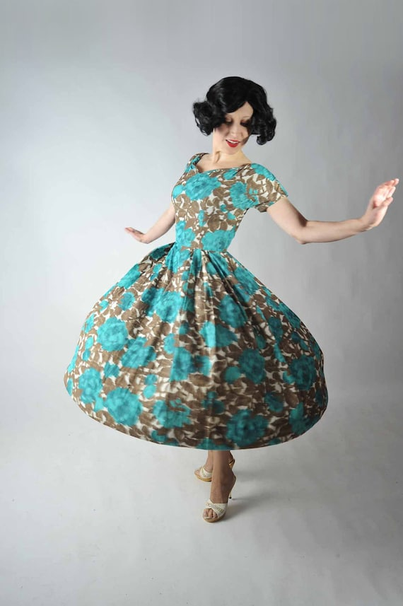 Vintage 1950s Dress // Brown and Aqua Floral Ful Skirt Rockabilly Party Dress
