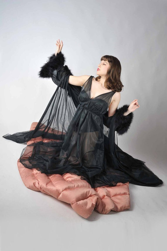 Vintage 1960s Intime Peignoir // The LadyHawke Sheer Black Double Nylon Luxury Robe and Nightgown with Marabou Feathers