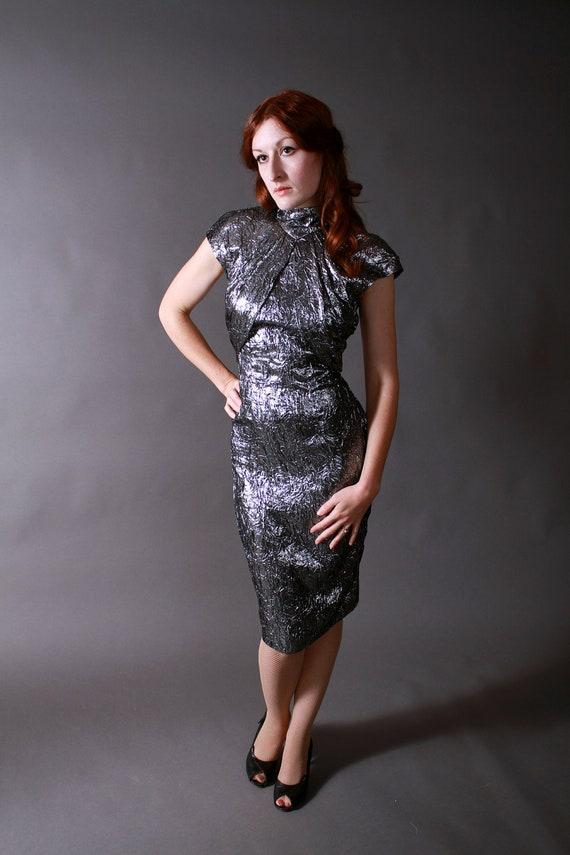 Vintage 1980s Dress - Killer Silver Lamé Avant Garde Bombshell Dress
